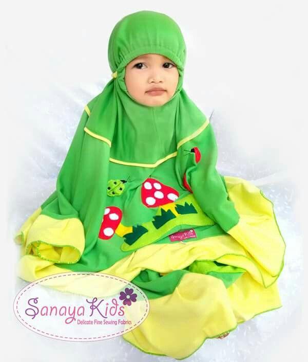 Mukena Anak Jamur Hijau. Bahan Kaos. Size XS-XL
