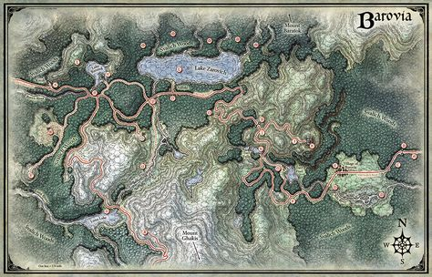 """This map of the Land of Barovia was originally created as part of the gothic horror themed D&D RPG adventure """"Curse of Strahd"""". Published in 2016 by Wizards of the Coast, the book contains 28 separate pieces of mine including this regional map of the demi-plane in which the story occurs."""