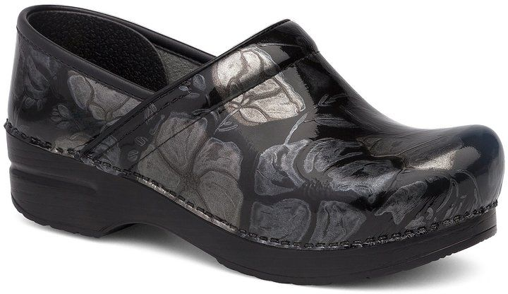 Dansko Professional Floral Printed Metallic Leather Slip-On Clogs nmH61s