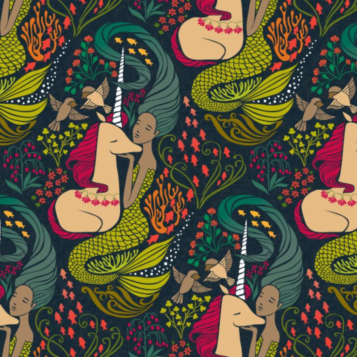 Unicorns & Mermaid fabrics http://blog.spoonflower.com/2016/08/proof-that-unicorns-and-mermaids-are-real/