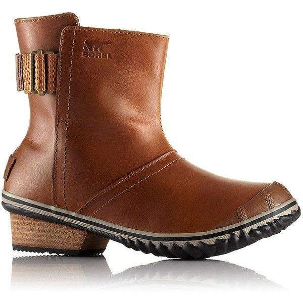 Sorel Waterproof Ankle Boots ($130) ❤ liked on Polyvore featuring shoes, boots, ankle booties, brown, short boots, brown leather bootie, brown boots, waterproof leather boots and leather booties