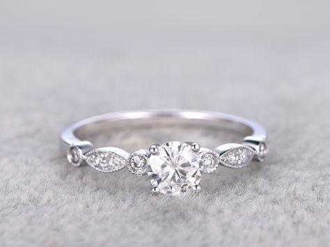25 + › Vintage Moissanite Verlobungsringe Diamant Versprechen Ring Weißgold 14k / …