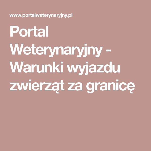 Portal Weterynaryjny - Warunki wyjazdu zwierząt za granicę