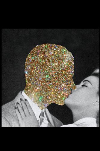Glitter Smooch Art Print 17 x 17 unframed