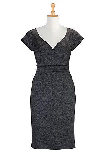 Herringbone jacquard knit sheath dress from eShakti