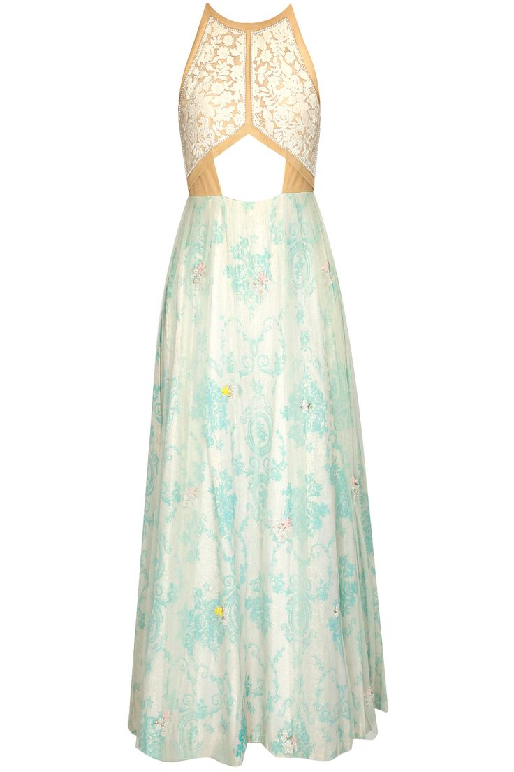 Teal blue and rose embroidered midriff cutaway halter anarkali
