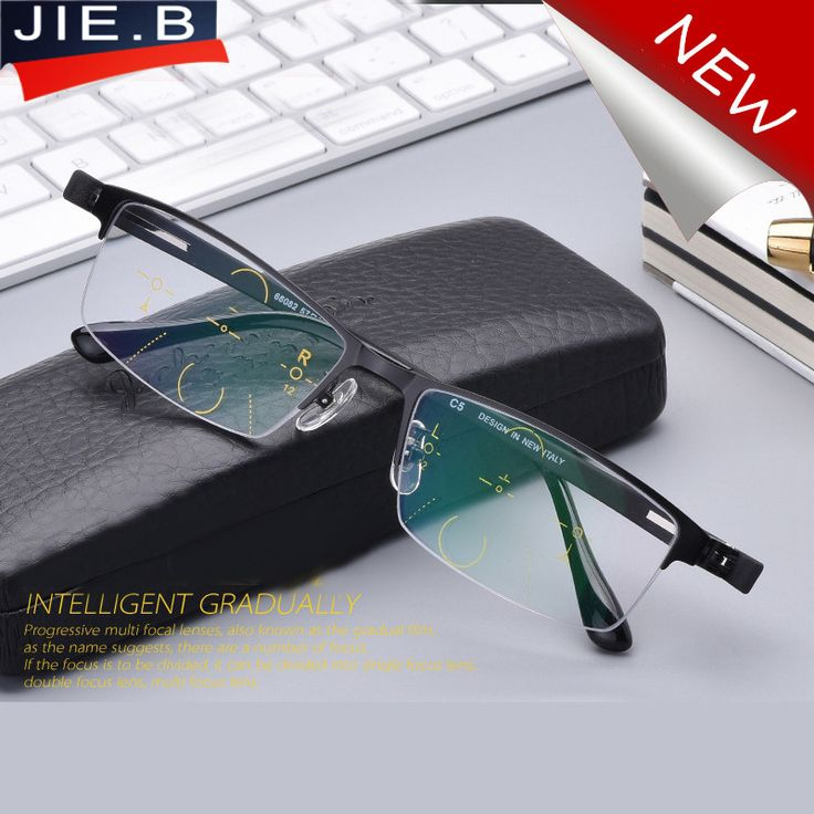 Men Titanium Alloy Fashion Square Half Rim Reading Glasses Men Progressive lenses Reading Clear Intelligence Multifocal Glasses