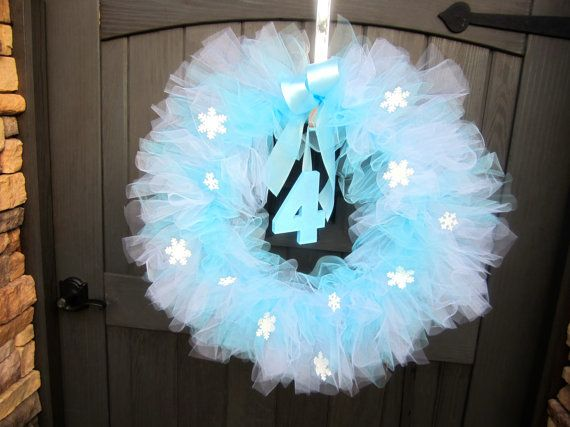 Frozen Inspired Tutu Wreath, Frozen Party Decoration, Blue and White Wreath, Tulle Wreath, Princess Elsa