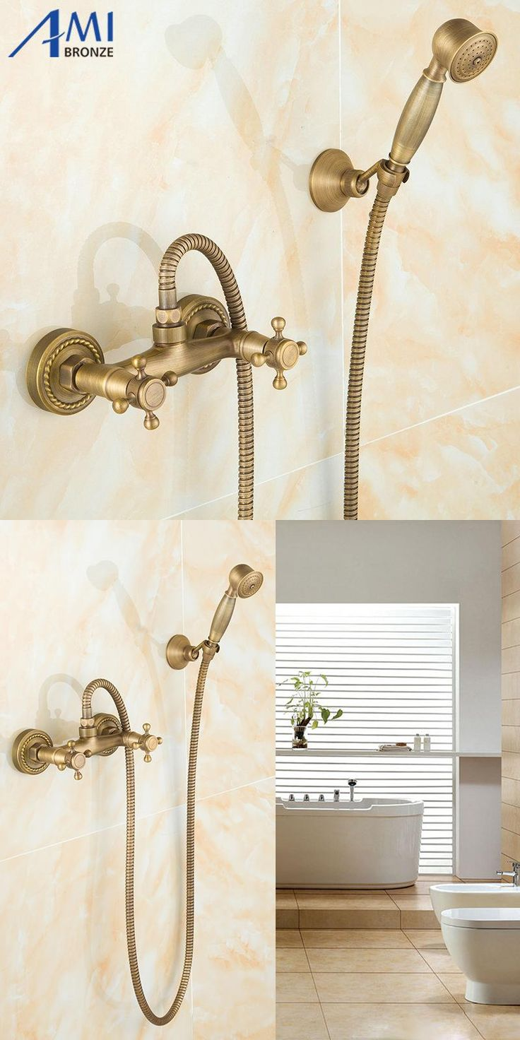 [Visit to Buy] Antique Brass Bathroom Bath Wall Mounted  Hand Held Shower  Head Kit Shower Faucet Sets #Advertisement