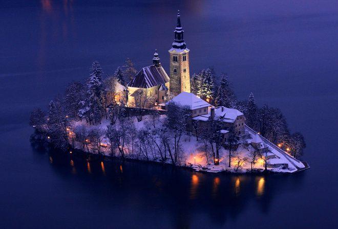 природа, остров, церковь, Словения, зима, красиво