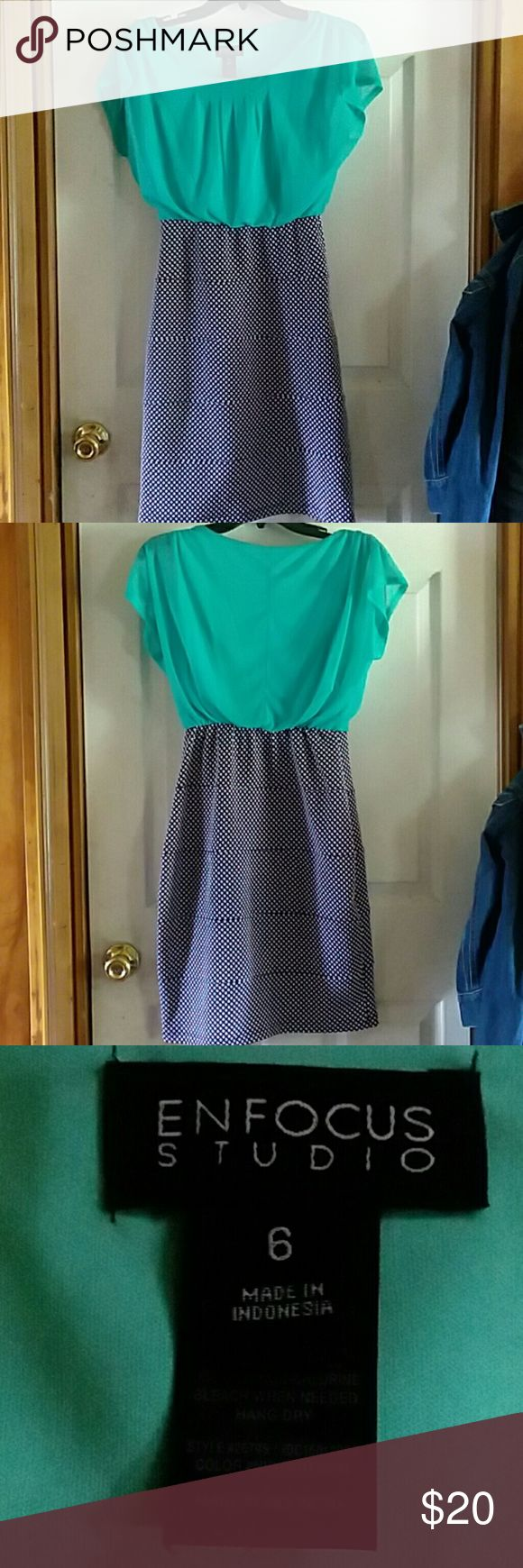 ENFOCUS STUDIO cocktail dress Beautiful mint with black and white polka dots cocktail dress,worn only once ,size 6 Enfocus studio Dresses Midi