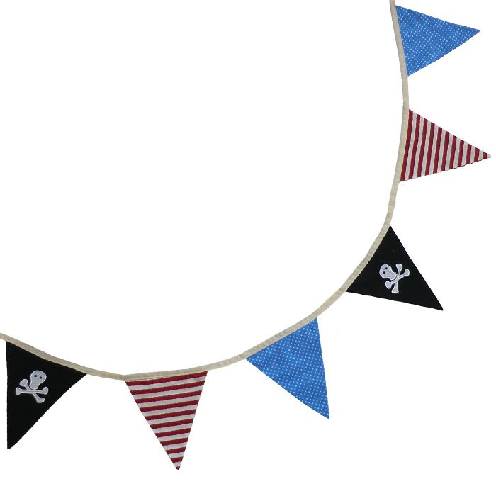 Double sided pirate bunting with skull and cross bone embroidery, 4 meters. Powell Craft at www.myfriendlily.co.za
