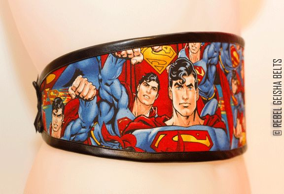 Waist-Cincher Style Belts for bold women who love to stand out in a crowd! Designed and Made in Toronto PERSONAL SERVICE/CUSTOM ORDERS ONLY  COLLECTION: COMICORS hot superman $60