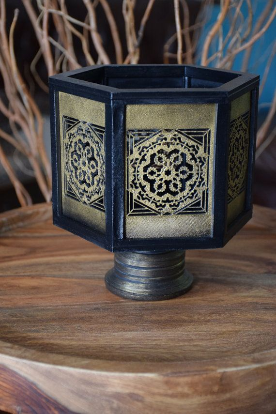 Handmade Black Gold Hexagon Vase by ThadamCreativeDesign on Etsy