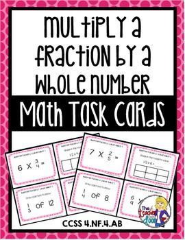 This set of 24 task cards covers Multiplying Fractions by a Whole Number and is also part of a 30 set entire year bundle for 4th graders! Great focused practice for your students. (TpT resource)