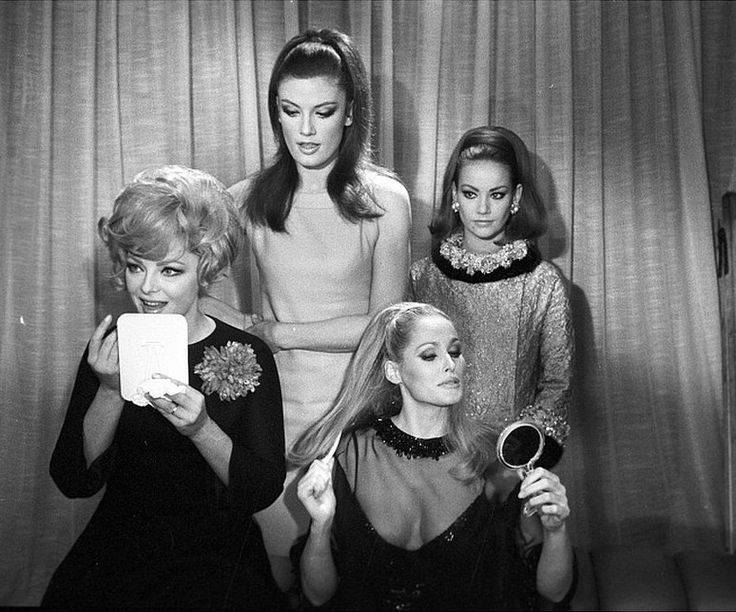 "Virna Lisi, Marisa Mell, Ursula Andress and Claudine Auger get ready for group photo during filming of ""Anyone Can Play"", photo by Angelo Frontoni, 1967"