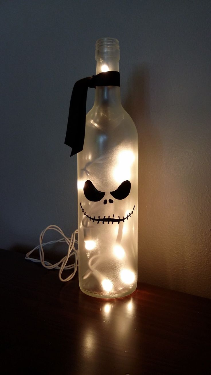 Jack Nightmare Before Christmas Wine Bottle Painted Skellington decor decorations by KarensWineSeller on Etsy https://www.etsy.com/listing/250261512/jack-nightmare-before-christmas-wine