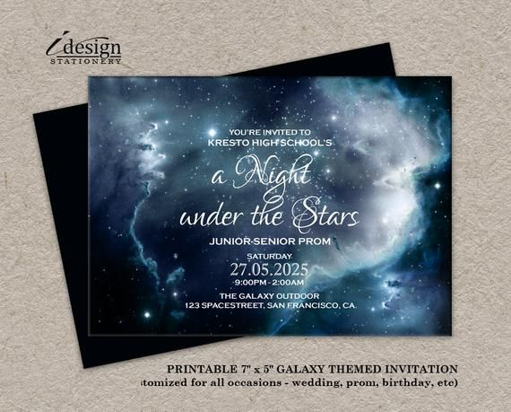 A Night Under The Stars Prom Invitations Printable Starry Night Invitations Galaxy Invites Space Starry Night Prom Invitations Stars Wedding Invitations