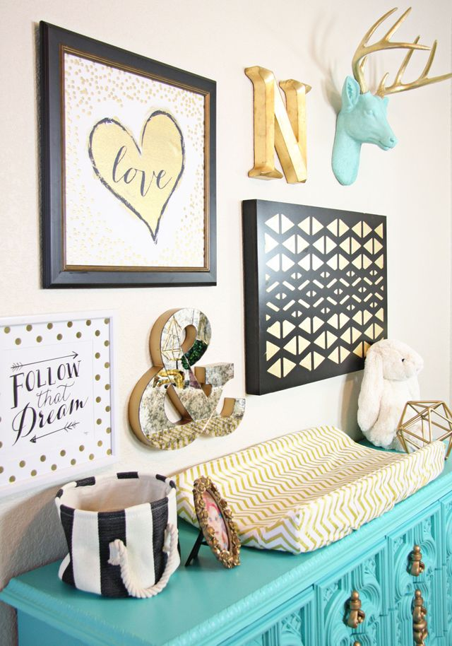 Gold Nursery Design - we LOVE the turquoise accents! Gold chevron nursery - that…