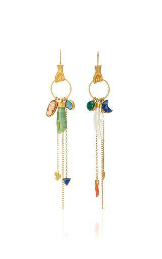 Multi Charm Drop Earrings by Grainne Morton Fall Winter 2018