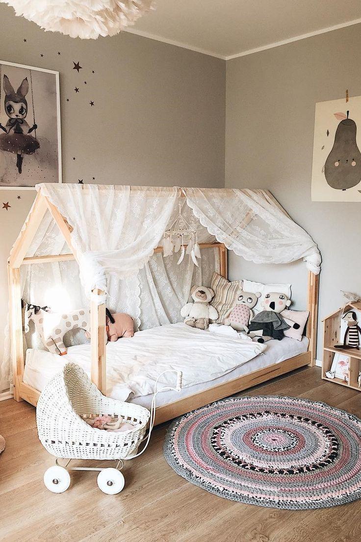 Inspiration von Instagram – Ich lebe ein 3elfenkinder – Pastell Mädchen Zimmer Ideen, rosa und grau Mädchen Zimmer Design, Mädchen Kinderzimmer, Kinderzimmer Dekor, Kinderzimmer …