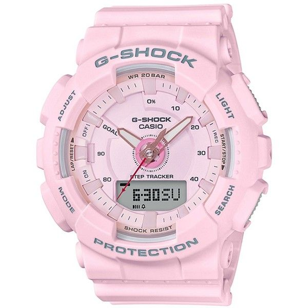 G-Shock Women's Analog-Digital Pink Strap Watch 50mm ($130) ❤ liked on Polyvore featuring jewelry, watches, pink, g shock watches, pink watches, ana-digi watches, g shock wrist watch and analog digital watches
