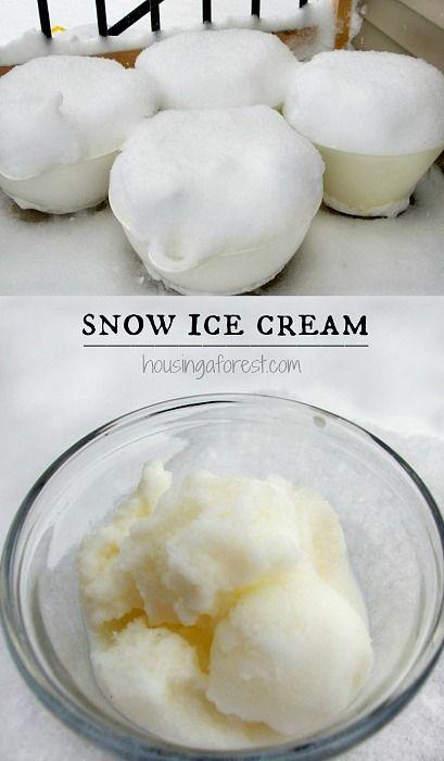 Snow Ice Cream ~ Easy winter dessert your kids will love.