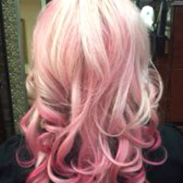 pink balyage  Pink balayage using red toner shampoo