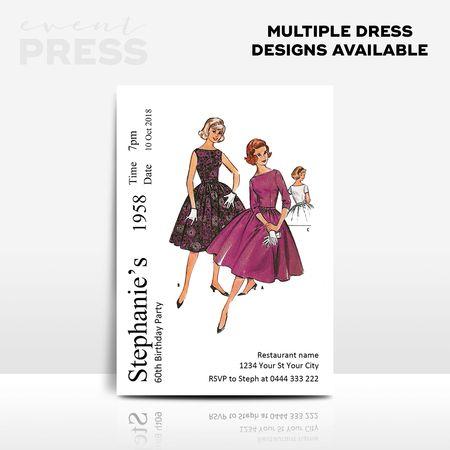 Dress Pattern Birthday Invitation   Event Press  Digital design can be found at www.ellenphantdesigns.etsy.com    Sewing, craft, adult, 40, 50, 60, birthdays