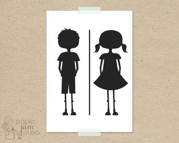 little girl boy bathroom sign wc fun toilet symbol amenities on