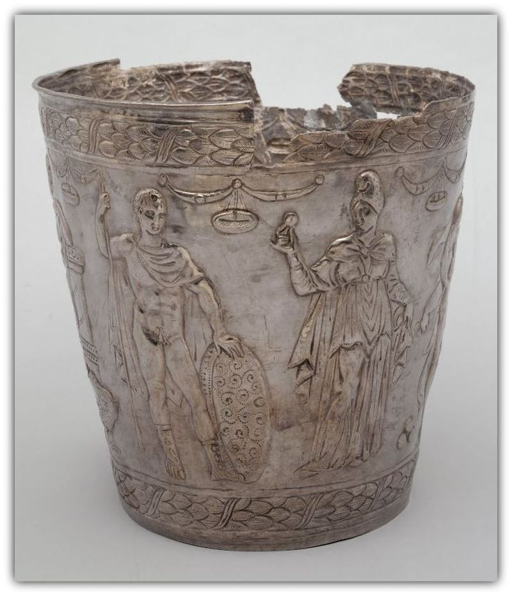 Silver Bucket  600 AD - 650 AD. Part of a hidden treasure, this magnificent silver bucket was discovered in 1814 during ploughing at Kuczurmare. It contained seven silver bowls as well as a slightly larger silver cauldron.  Byzantine.  | Kunsthistorisches Museum Wien