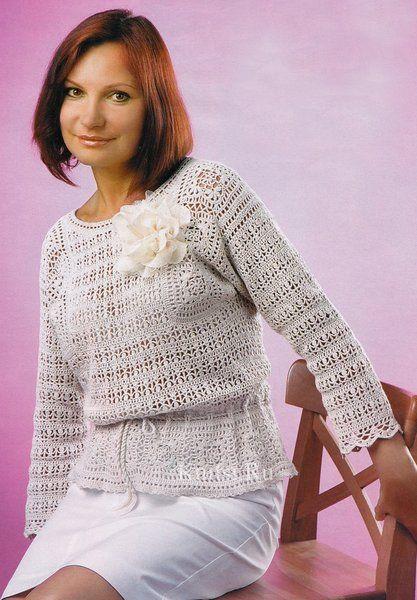 Очень красивый льняной пуловер крючком.