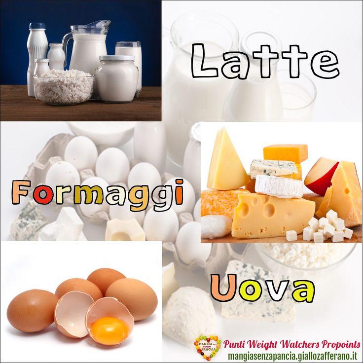 Lista Punti Weight Watchers Latte Formaggi e Uova per calcolarne il valore da inserire nel diario alimentare quotidiano