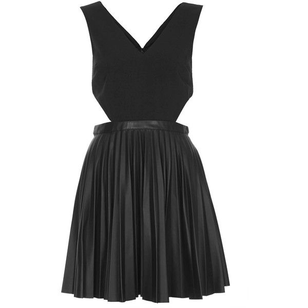 TOPSHOP Pleated PU Skater Dress ($14) ❤ liked on Polyvore featuring dresses, vestidos, topshop, black, side cutout dress, side cut out skater dress, zipper dress, deep v-neck dress and pleated skater dress