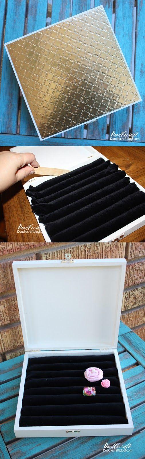 DIY: Cigar Box Upcycled Ring Holder!  Great handmade gift idea!  Velvet rows for loads of rings!