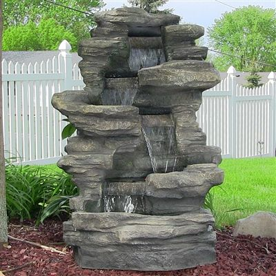 Stacked Shale Outdoor Water Fountain W/ LED Lights By Sunnydaze Decor
