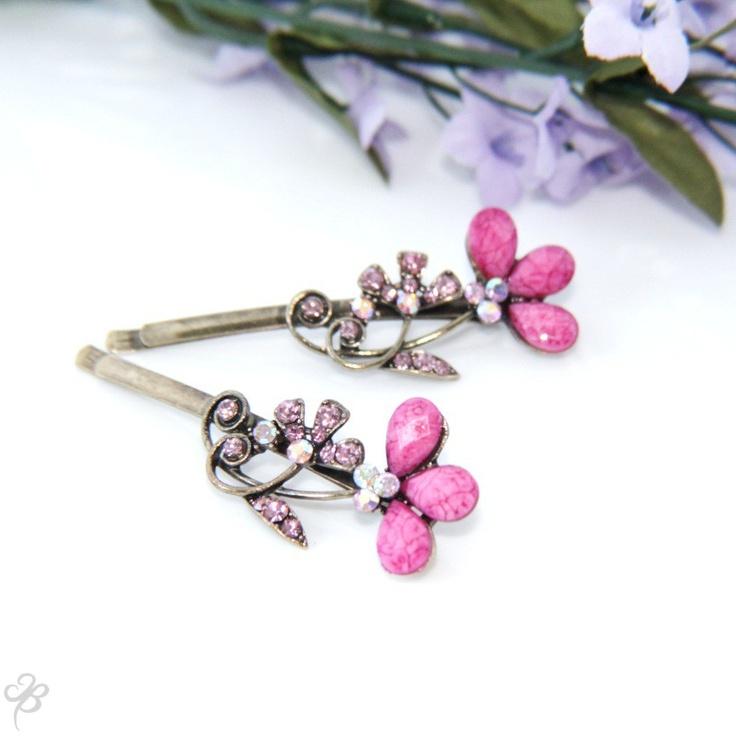 Pink Alstroemeria, pink bobby pins.