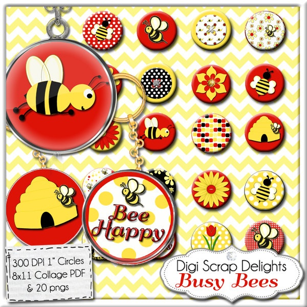 Bee Digital Collage Sheet - One Inch Circles for Red, Yellow, Black  Pendants, Magnets, Charm Bracelets, Jewelry, Scrapbook Elements. $3.00, via Etsy.Digital Collage, Collage Sheet, Digital Image, Bees Digital, Inch Circles, Collage Charms
