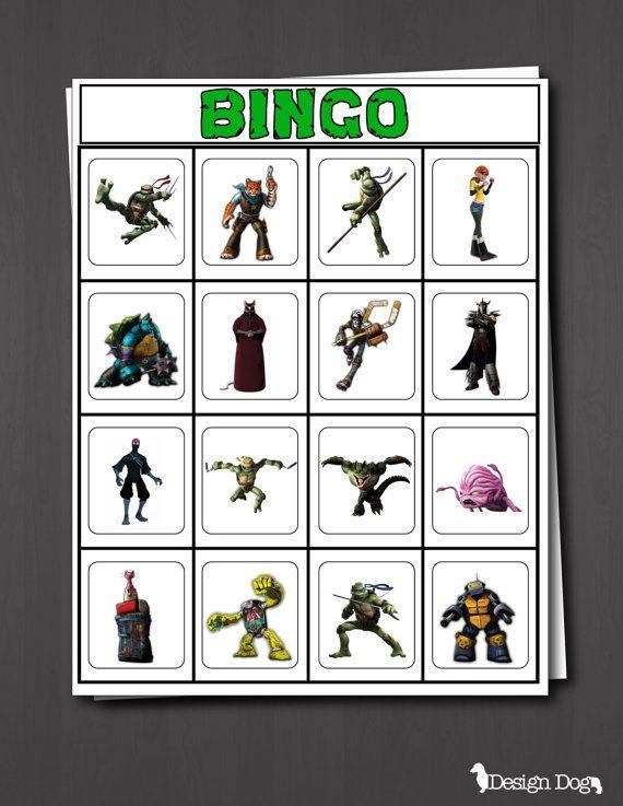 Teenage Mutant Ninja Turtles Party Bingo Game- Set of 15- Instant Download! on Etsy, $8.99