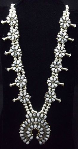 Navajo Silver and White Buffalo Turquoise Squash Blossom Necklace