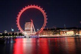 London Eye V Noci, London Eye Přes Temži