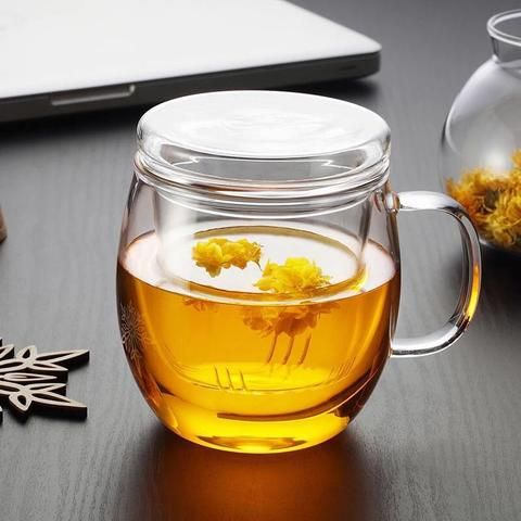 Nonxis Large Capacity Heat-Resistant Transparent Filter Glass Tea Cup