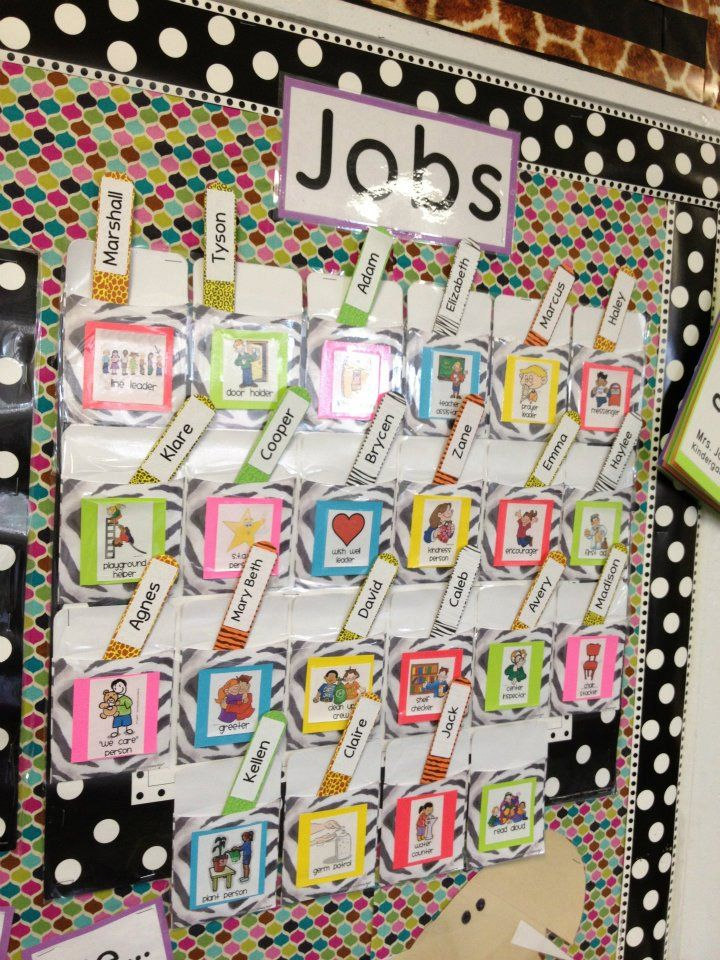 22 jobs, conscious discipline style: I love this type of organization and this way students can see who has what job so that they can take care of their job on their own without me having to remind them what they are supposed to be doing.
