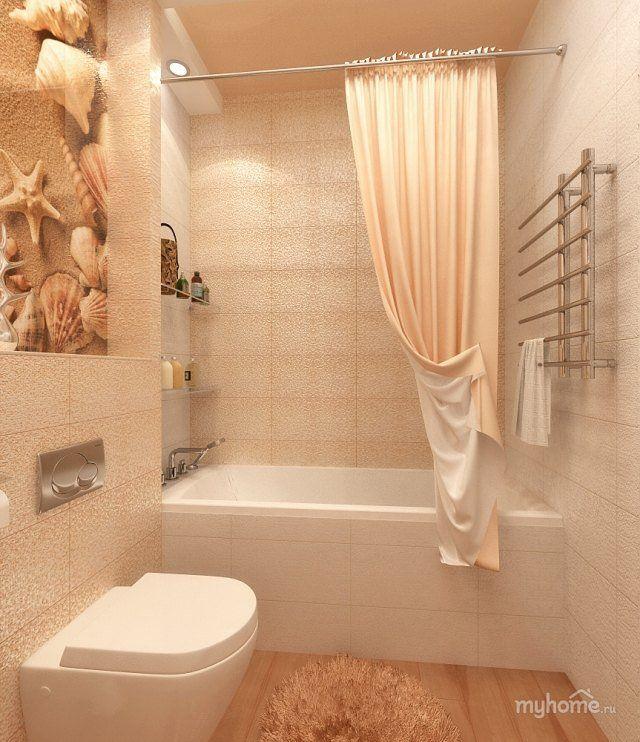 une salle de bain en beige clair avec un autocollant nautique