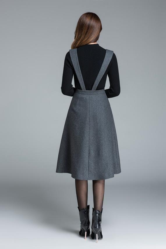 Vestido de lana midi, vestido de longitud de rodilla, vestido gris oscuro, vestido con bolsillos, vestido de cintura alta, vestido casual, vestido de invierno para mujer 1645 #