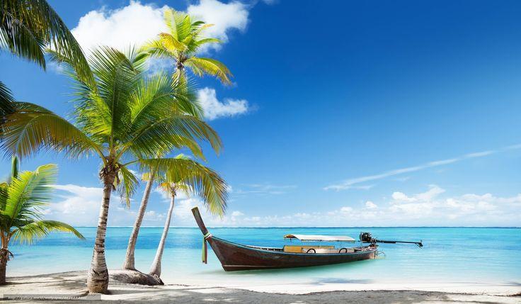 carta da parati tropicale, Mare, barca, palme, Spiaggia, tropicale Desktop - il numero dell'immagine462627