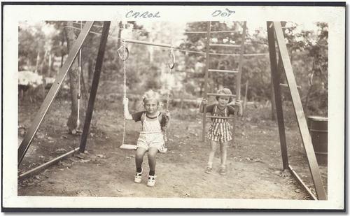 Little Girls on Swing Set Vintage Old Photo Snapshot B538 ...