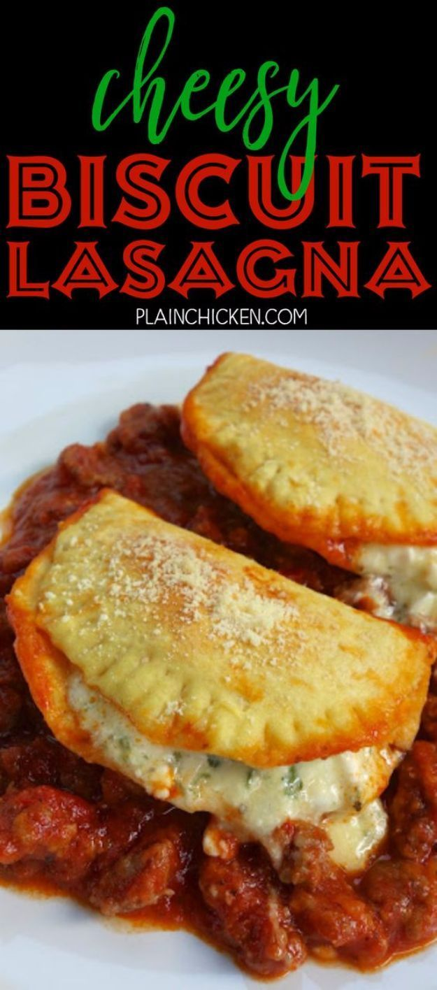 Best Canned Biscuit Recipes - Cheesy Biscuit Lasagna - Cool DIY Recipe Ideas You Can Make With A Can of Biscuits - Easy Breakfast, Lunch, Dinner and Desserts You Can Make From Pillsbury Pull Apart Biscuits - Garlic, Sour Cream, Ground Beef, Sweet and Savory, Ideas with Cheese - Delicious Meals on A Budget With Step by Step Tutorials http://diyjoy.com/best-recipes-canned-biscuits