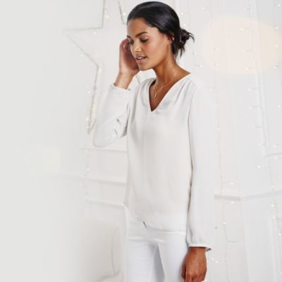 Long Sleeve Silk Blouse - Silver from The White Company