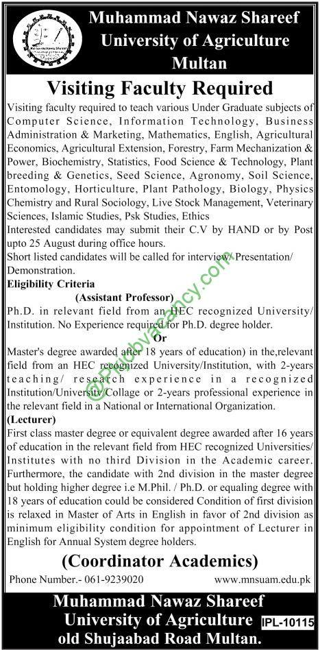 Jobs In Muhammad Nawaz Sharif University of Agriculture Multan 23 February 2017